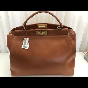 NWT Fendi LARGE Peekaboo Leather Bag COGNAC